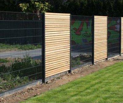 Naturholz Zaun Metall Gartendesign Killen